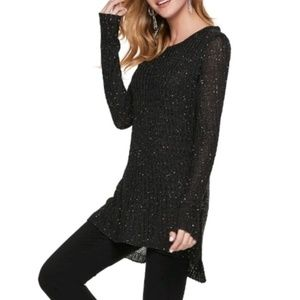 Sequin Mock-Layer Tunic Top Knit Sweater Black Sm